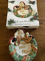 Fitz and Floyd Santa with Wreath canape plate- New In Box-
