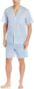 Fruit of the Loom Men's Broadcloth Short Sleeve Pajama Set   Size Large
