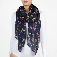 Printed Village Airplanes Multi-Color SCARF Shawl Wrap Beach Cover Up Sarong