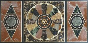 "48"" x 24"" black Marble top center Table semi precious stones pietra dura inlay"