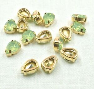 15  10 x 14mm  Green Crystal Metal Gold Claw  Sew On Rhinestone Beads Gems