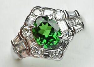 Beautiful Tsavorite 1.56ct Diamond Ring Jewelry / Free shipping 190520-3