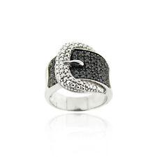 925 Argent Sterling .43ct Diamant Noir Ceinture Boucle Bague