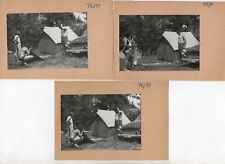 Lot 3 PHOTOS Photo CAMPING Tente Matelas Gonflable Auto Triumph Mustang ? 1960