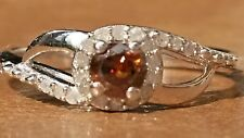 Natural Cognac Red Diamond and White Diamond Ring UK N