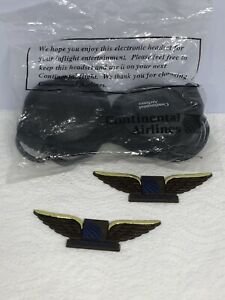 Vintage Continental Airlines Electronic Headset & 2 Wings