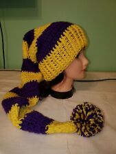 Extra Long FAN stocking Cap Purple and Gold