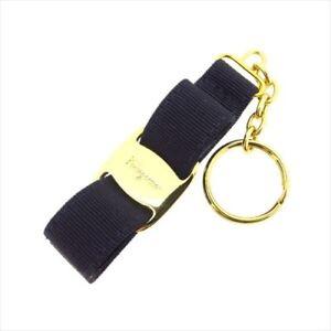 Salvatore Ferragamo key ring Vera Navy Gold Woman unisex Authentic Used T8654