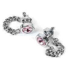 Men Wrap Around Silver Chain Pink Crystal Cuff Links Cufflinks WEDDING GIFT