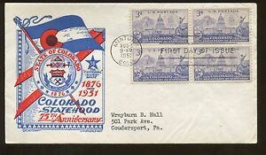 1951 Minturn State of Colorado Statehood Anniversary First Day Cover
