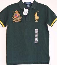 NWT Polo Ralph Lauren Green Big Pony Yellow Jockey Club Rugby Riders Shirt boy 7