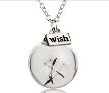 Silver Real Dandelion Seeds Glass Wish Bottle Pendant Choker Collar Necklace Jew