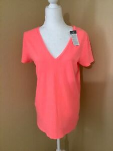 Merona Women's Orange Neon Short Sleeve V Neck T Shirt Size L