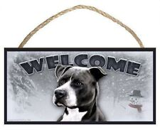 Pitbull Winter Season Welcome Dog Sign featuring art of Scott Rogers