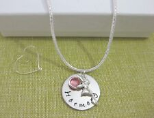 Child's Personalised Name Pendant with Fairy Angel Birthstone Necklace Silver Pl
