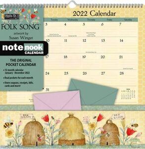 Folk Canzone - 2022 Nota Nook Calendario da Parete - Nuovo - Lang Arte 07207