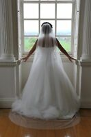 Ivory White Long Chapel Floor length Crystal Wedding Bridal Veil Cut Edge 90""