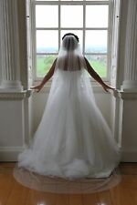 Ivory/White 1 Tier Chapel Floor Length Veil Cut Romantic Edge Bridal Wedding new