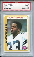 1978 Topps Football #315 Tony Dorsett Rookie Card RC Graded PSA MINT 9 Cowboys