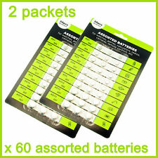 60 x Assorted Alkaline Cell Batteries AG1 / 3 / 4 / 5 /12 /13,WATCH GAMES,CAMERA