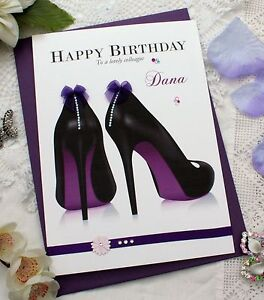 Personalised Birthday Card Friend Daughter Auntie Shoes 27th 37th 47th