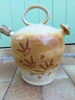 Ancienne Jarre à huile en grès 1 anse avec bouchons en liège déco floral