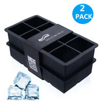 Housmile 2PCS Whiskey Big Ice Cube Tray Large Silicone Maker Mold Mould 8 Cavity