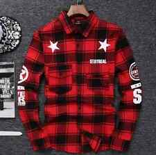Stayreal T-Shirts hip hop red Tartan Plaid top cotton tee M L XL 2XL