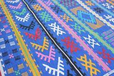 Moroccan Vintage Carpet Sabra Kilim Rug Tribal Atlas Berber Hand Woven Blue
