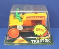 "Durham Battery Op Climbing Tractor Smoke & Light 7"" Plastic Japan 70s Sealed Box"