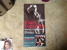 2 Sided ELVIS COSTELLO Promo POSTER 24x12 Perforated LP CD music
