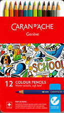 Caran d'Ache SCHOOL LINE 12 Matite Colorate Acquerellabili Soft Scatola Metallo