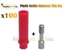 X 100 Plastic Castable Abutment With Hex + Screw For Dental Spiral Implant Lab
