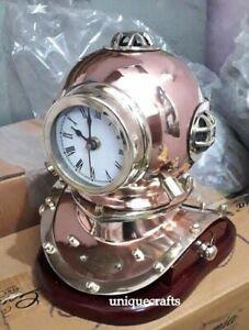 Copper Brass Designer Diving Divers~ Helmet Clock W/ Wooden Base Gift Replica