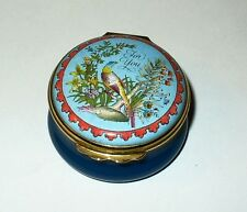 "Halcyon Days Enamel Box - ""For You"" -Bird & Flowers- Pheasant & Tree Trunk - Mib"
