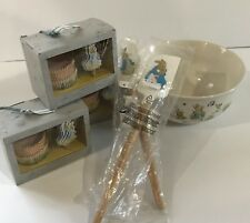 Williams Sonoma Peter Rabbit Mixing Bowl, 2 Spatulas, 3 Cupcake Kits