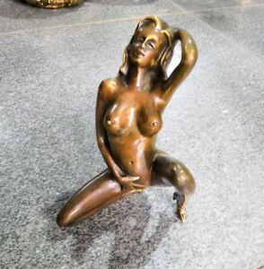 ChinaFolk Art Copper Bronze Nude Beauty young girl body art Sculpture statue