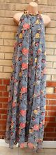 GIRLS ON FILM GREY PINK FLORAL CHAINED NECK SMOCK FLIPPY LONG MAXI DRESS 10 12