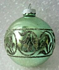 "VINTAGE GLASS CHRISTMAS ORNAMENT 3.5"" SHINY BRITE GREEN W/MICA DECORATION"