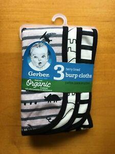 Gerber Baby Boys 3-Pack Burp Cloths Black White Dinosaur - FREE SHIPPING!