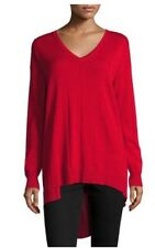 NWT Womens Vince Camuto Red Ribbed Asymmetric Hem Sweater Sz XL Extra Large
