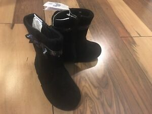 Gymboree toddler sz 5 Holiday low black boots with glitter bow  NWT $46.95