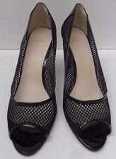 Womens Ancarani Patent And Mesh Black Peep Hole Shoes- Size UK 7 EUR 40