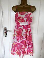 "FABULOUS 100% PINK/WHITE COTTON  DRESS BY MANTARAY UK-16 BUST 40""  LENGTH 38"""