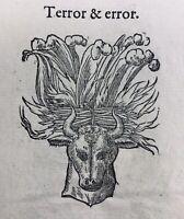 Taureau 1557 Rarissime Gravure sur Bois Hannibal Vase