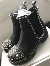 Ego Shoes Studded Punk Black Ankle Boots UK 5 38