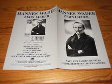 HANNES WADER - ZEHN LIEDER / PLÄNE PROMO-HEFT (DIN-A-4) 1995