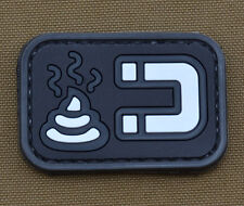 """PVC / Rubber Patch """"Shit Magnet"""" Black with VELCRO® brand hook"""
