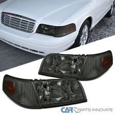 Fit 98-11 Ford Crown Victoria Smoke Lens Headlights+Tinted Corner Signal Lamps