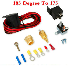 185 Degree On 175 Off Car Electric Cooling Fan Wiring Thermostat 60A Relay Kit
